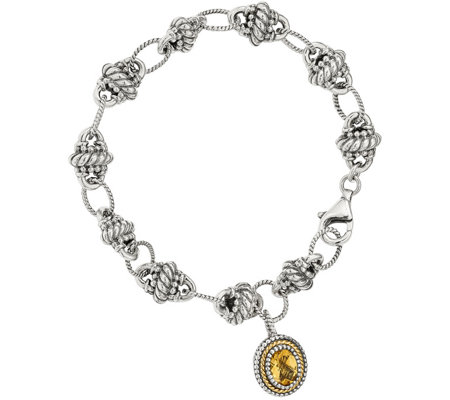 Sterling & 14K Citrine Dangle Bracelet