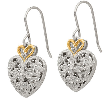 Diamond Heart Earrings, Sterling/14K, 1/10 cttw by Affinity