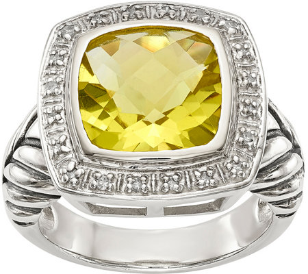 Sterling 3.60 ct Lemon Quartz & Diamond Ring