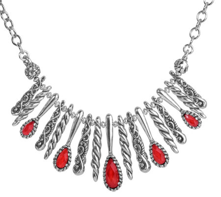 Carolyn Pollack Empress Red Coral Statement Necklace
