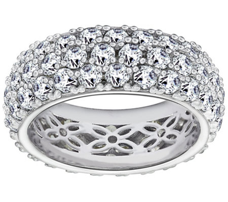 Diamonique 5.45 cttw Three-Row Band Ring, Platinum Clad