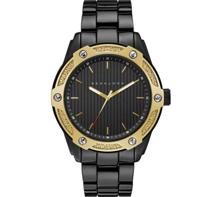 Sean John Men's Goldtone Black Bracelet Watch