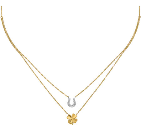 14K Gold Two-Tone Clover & Horseshoe Layered Necklace