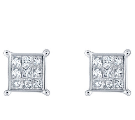 Affinity 14K 1/4 cttw Princess-Cut Invisible-Set Stud Earring