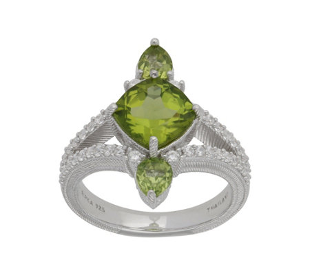 Judith Ripka Sterling 2.30 cttw Peridot & Diamonique Ring