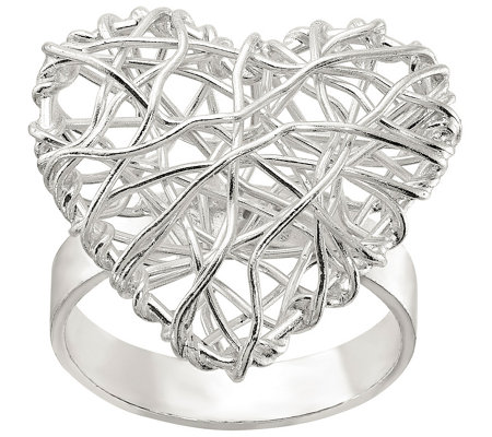 Sterling Puffed Mesh Heart Ring