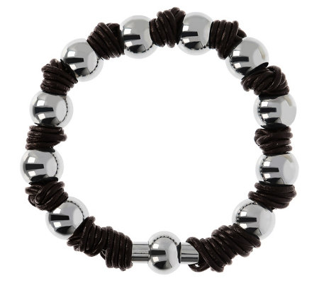 Steel By Design Polished Bead & Leather Knot Bracelet