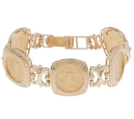 7 1 4 Inch Liberty Coin Bracelet 14k 22k Gold
