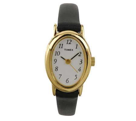 Timex Ladies Fashion Cavatina Watch with BlackLeather Strap