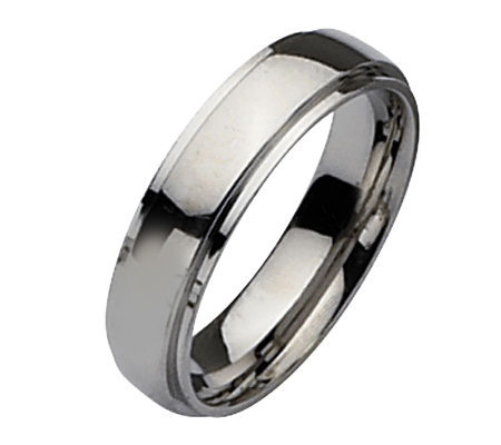 Stainless Steel Ridged Edge 6mm Polished Ring