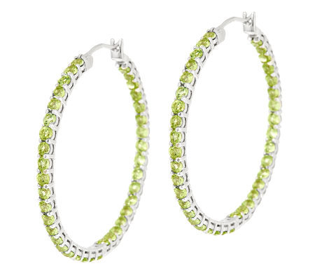 5 25 Ct Tw Peridot Sterling 1 2 Inside Out Hoop Earrings