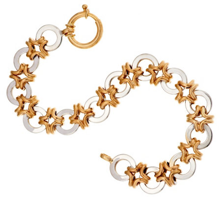 "14K Gold 7-1/4"" High Polished Interlocking Link Bracelet, 10.5g"