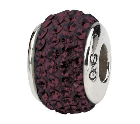 Prerogatives Sterling Dark Maroon Full Swarovski Crystal Bead