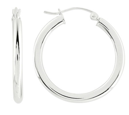 "Prerogatives Sterling 1"" Round Hoop Earrings, 3.0mm"