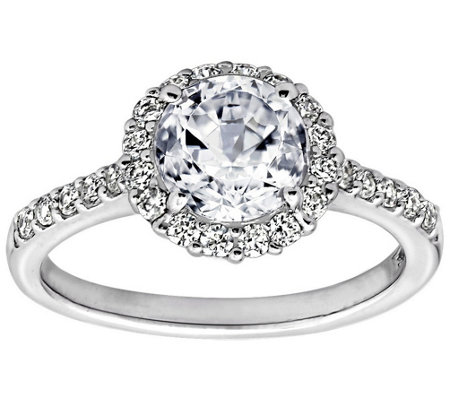 Diamonique 1 75 Cttw 100 Facet Halo Ring Platinum Clad