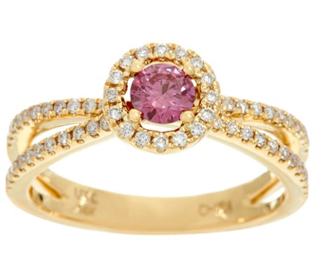 Fancy Pink and White Diamond Halo Ring, 14K, 1/2 cttw, by Affinity