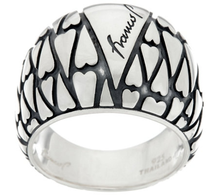 Franco P Sterling Silver Signature Heart Mosaics Ring