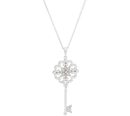 "Diamonique 8/10 cttw Key Pendant w/ 30"" Chain Sterling"