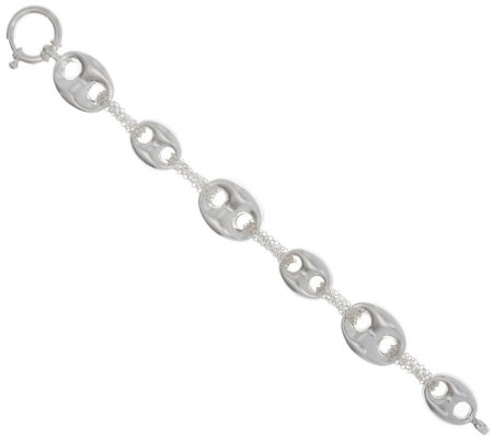"""As Is""Sterling Silver 6-3/4"" Marine Link Bracelet by Silver Style"