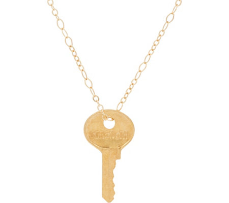 "The Giving Keys Goldtone 'STRENGTH' Key Pendant with 18"" Cable Chain"