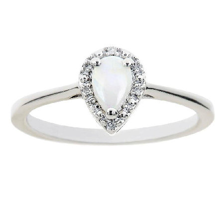 Sterling Pear Prong Set Gemstone Ring With Diamond Accent
