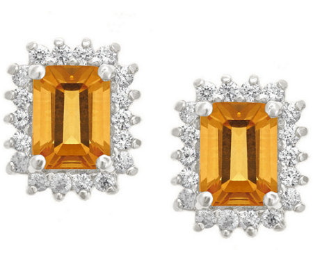 Premier Emerald Cut 1.60cttw Citrine Earrings,14K
