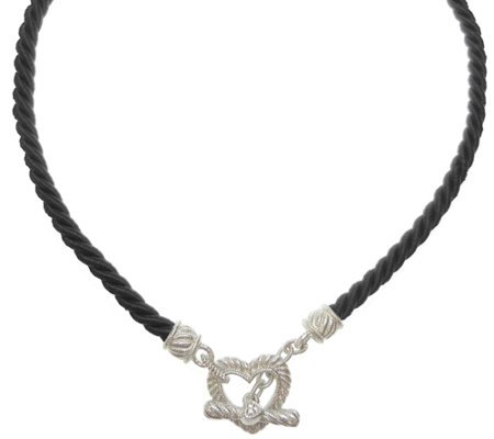 Judith Ripka Sterling Twisted Cord Necklace w/Heart Toggle