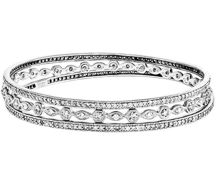Sterling Set of Three Crystal Eternity Bangles