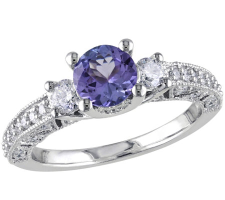Tanzanite & Diamond Ring, 14K White Gold
