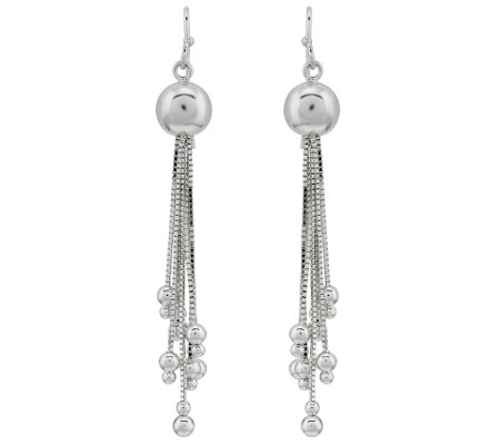 Sterling Silver Ball & Chain Dangle Earrings by Silver Style