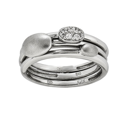 Sterling Oval Crystal Three-Ring Set by Silver Style