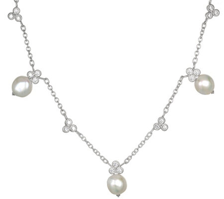 Judith Ripka Sterling with Pearls & DiamoniqueNecklace