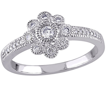 Floral Diamond Ring, 14K White Gold, 1/4 cttw,by Affinity