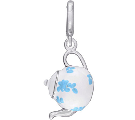 Laura Ashley Sterling Teapot Enamel Charm