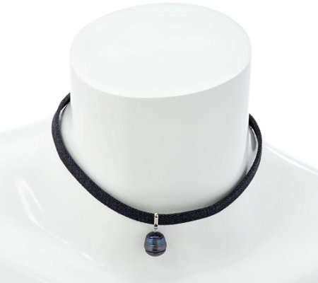Honora Cultured Pearl Dark Denim Choker Necklace
