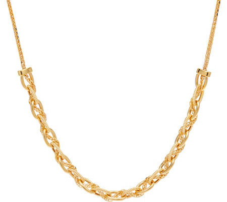 "Italian Gold 18"" Textured Oval Link Necklace, 14K, 4.6g"
