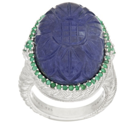 """As Is"" Judith Ripka Carved SapphireDoublet & Pave 0.40 ct Emerald Ring"