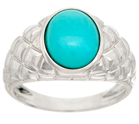 Oval Sleeping Beauty Turquoise Sterling Band Ring
