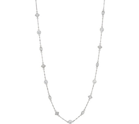 Diamonique 30 Stone Station Necklace, Sterling