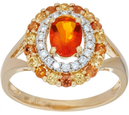 Fire Opal & Sapphire Diamond Ring, 14K Gold, 1.00 ct