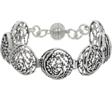 "Or Paz Sterling Silver 6-3/4"" Swirl Circle Link Bracelet 22.0g"