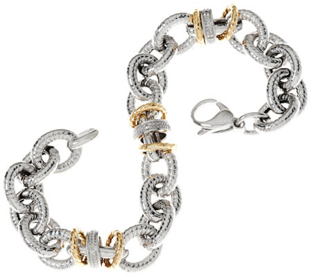"""As Is"" Italian Silver & 14K Diamond Station 7-1/4"" Bracelet 25.8g"
