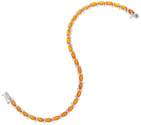 Fire Opal 7 1 4 Tennis Bracelet 3 50 Cttw Sterling Silver