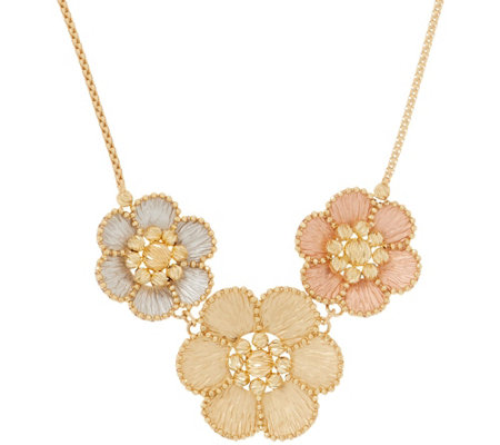 "Italian Gold 20"" Tri-color Floral Necklace, 14K Gold"
