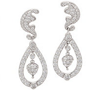 Diamonique Royal Collection Dangle Earrings Sterling - J356119