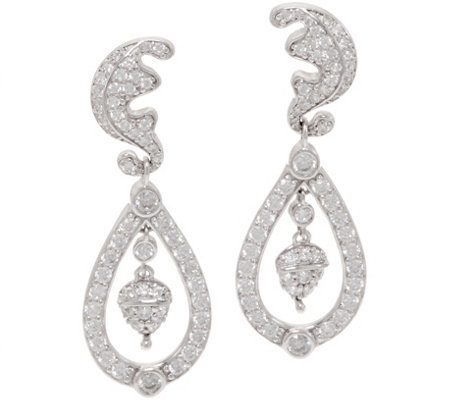 Diamonique Royal Collection Dangle Earrings Sterling
