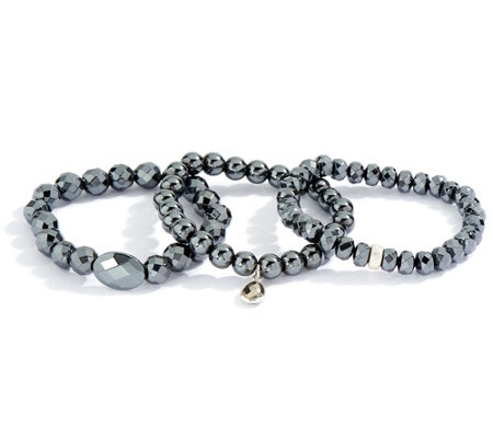 Dee Berkley Set of Three Hematite Bracelets