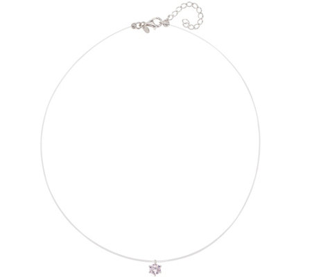 Diamonique 1.00 cttw Floating Necklace, Sterling Silver