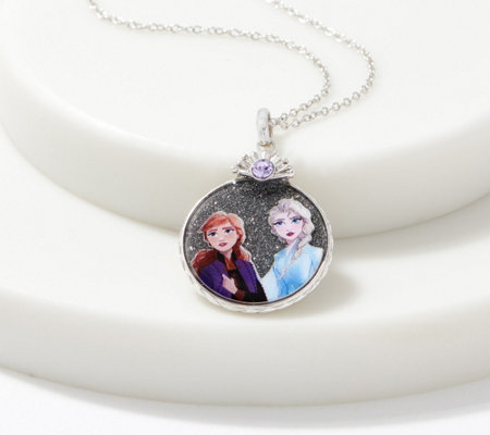 Disney's Frozen 2 Sisters Glitter Decal Necklace Sterling Silver