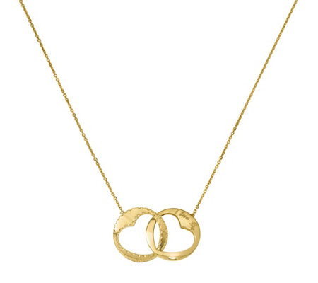 "14K Double Disk Heart Cut-out I Love You 16"" Necklace"